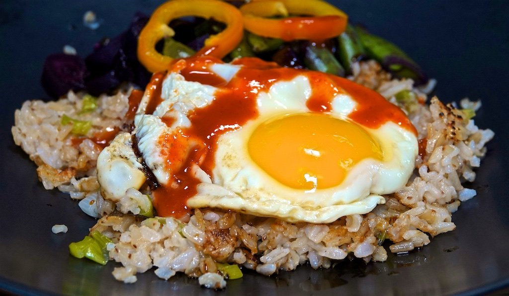 May 25: Smokey Cheddar & Tomato, Smoked Tuna & Capers; Crispy Rice Bowl with Spring Vegetables and a Fried Egg