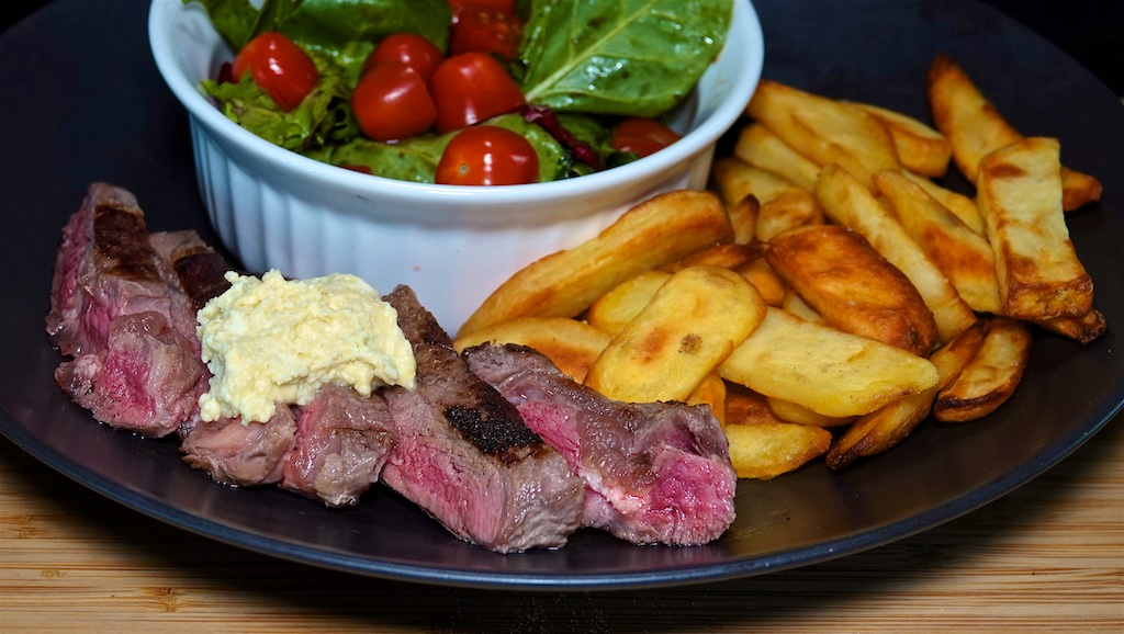 May 28: Rissole, Tomato & Smoked Cheddar Roll; Rib Eye with Steak Fries, Side Salad and Blue Cheese Butter