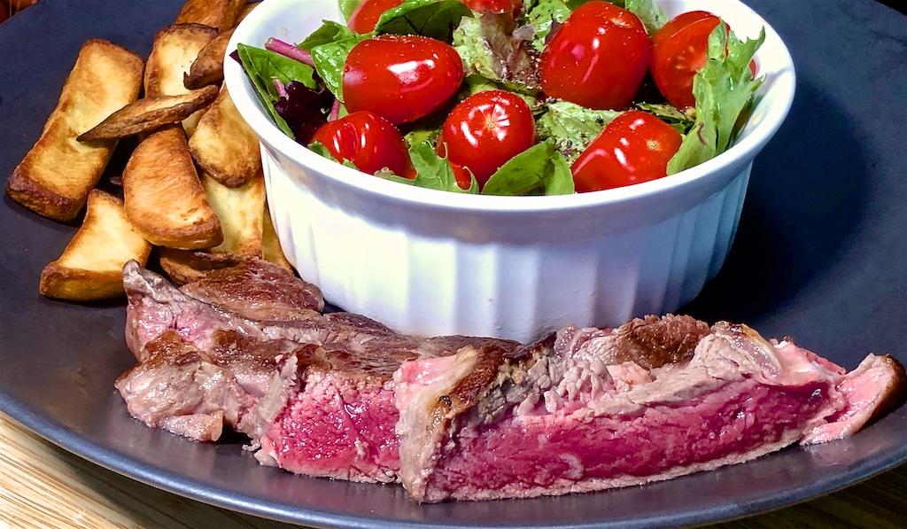 May 14: Creamy Ham & Mushroom Orzo; Rib Eye with Steak Fries and Garden Salad