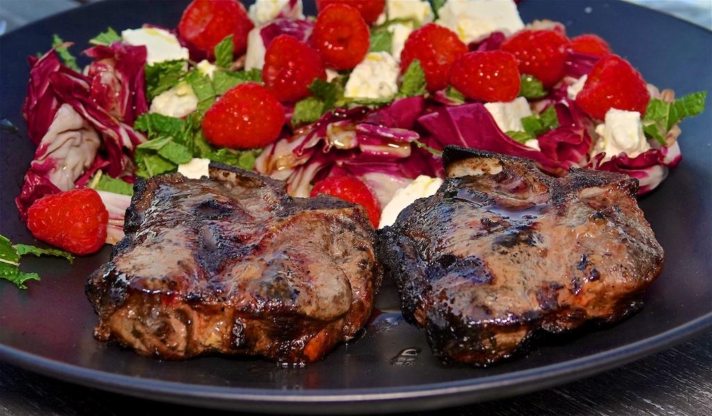 Jun 3: Avocado & Portuguese Sardines; Lamb Loin Chops with Raspberry, Radicchio, Feta & Mint Salad