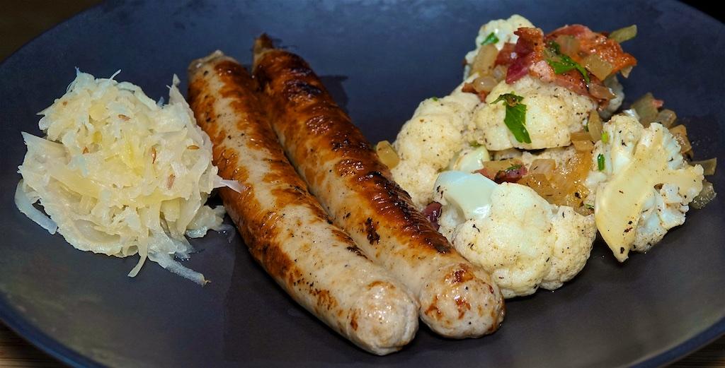"Jun 13: Bacon & Coleslaw; Beer Bratwurst and Mock ""German Potato Salad"" with Cauliflower"