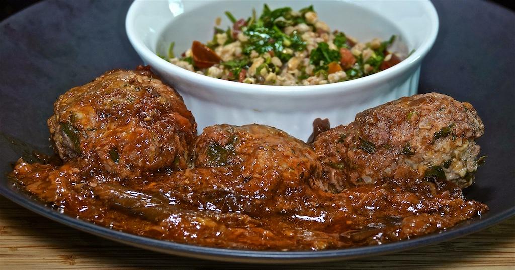 Jun 17: Pork Stew in Panini Roll; Soutzoukakia with Farro Tabouli