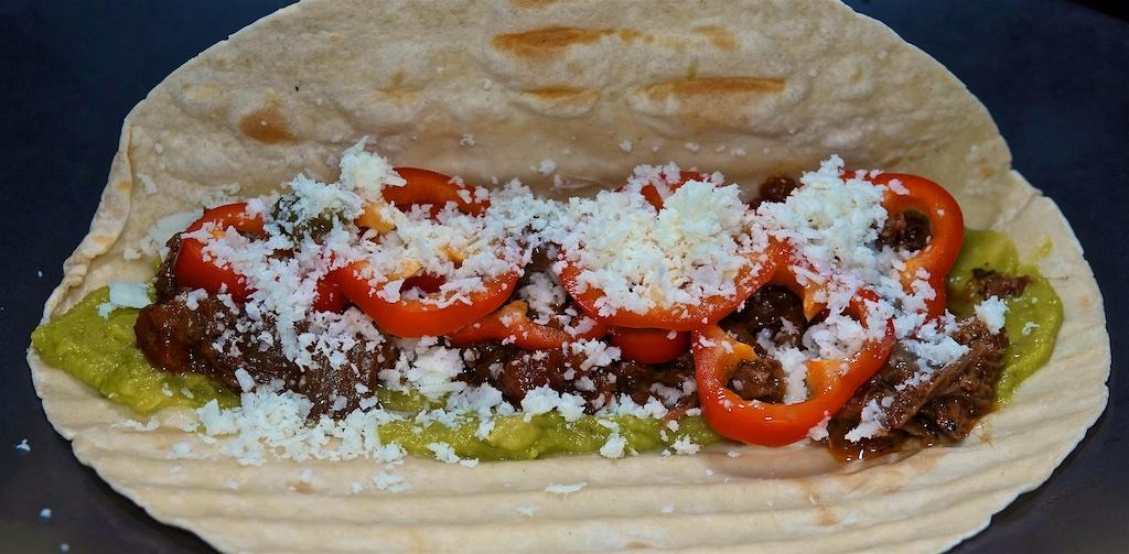 Jul 26: Rissoles & Cheddar in a Panini Roll; Shredded Beef Tacos