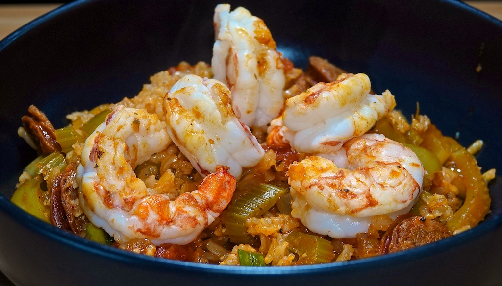 Jul 28: Corn Chips & Dips; Chorizo Jambalaya with Shrimp