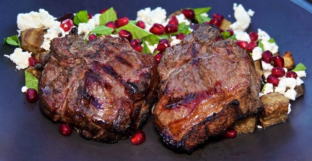Jul 30: Smokey Cheddar & Tomato, Ham & Sauerkraut; Lamb Loin Chops with an Eggplant Feta, Mint and Pomegranate Seed Salad