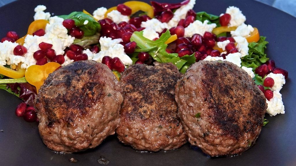 Aug 1: Ham, Sauerkraut & Swiss on a Brioche Bagel; Lamb Rissoles with Bell Pepper, Feta and Pomegranate Seed Salad
