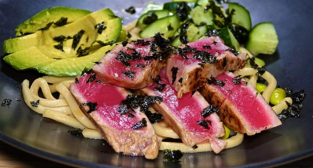 Aug 7: Ham, Apple Sauerkraut Salad & Swiss on a Brioche Bagel; Start Ahi Tuna on Udon Noodles