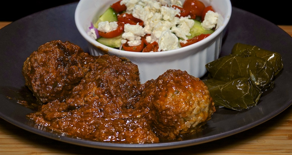 Sep 8: Tomato & Swiss, Smoked Cheddar & Apple Toasties; Soutzoukakia with Dolmas and Garden Salad