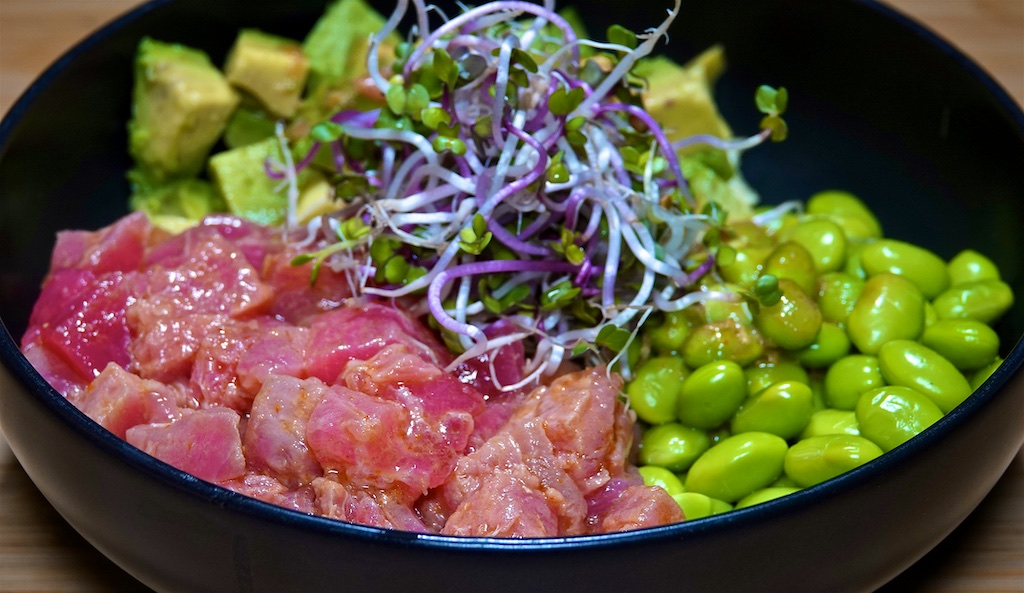 Sep 11: Braunschweiger, Mustard & Shallot on Baguette; Poke Bowl