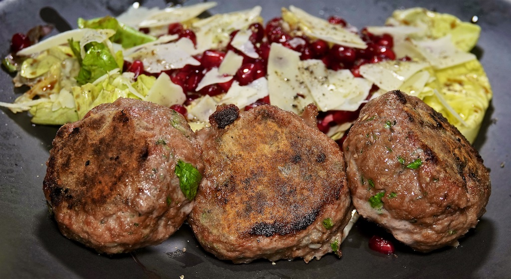 Sep 22: Shin Bowl; Lamb Rissoles with Lettuce, Parmesan and Pomegranate Seeds