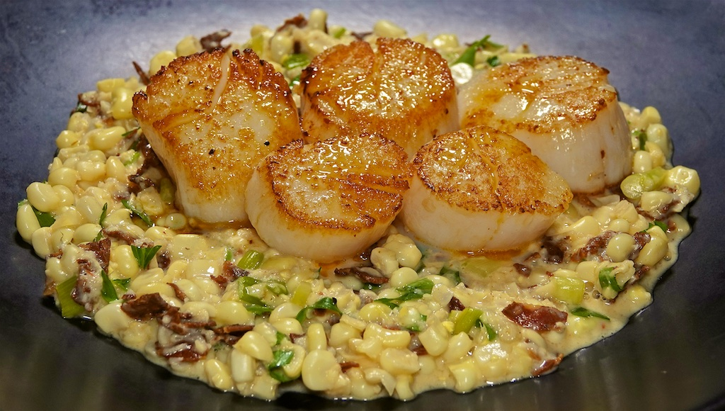 Sep 23: Egg Salad & Sprouts, Cheddar & Kumato; Seared Scallops with Chorizo and Corn