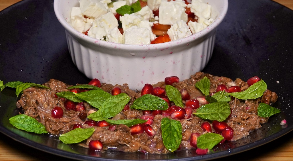 Oct 10: Ham & Coleslaw; Lamb, Mint and Pomegranate Salad with Strawberry, Cucumber and Balsamic Salad with Feta