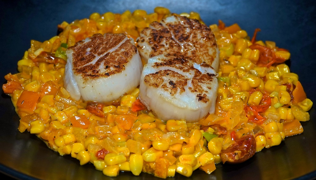 Oct 27: Fall Harvest Vegetable Soup; Seared Scallops with Maque Choux