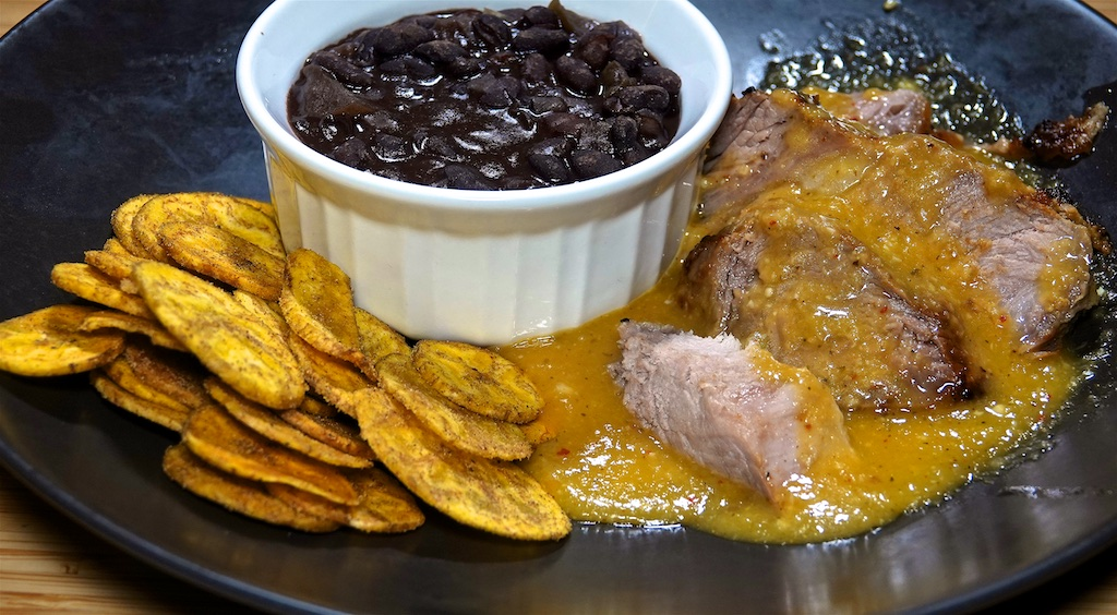 Nov 22: Smoked Salmon Bagel; Cuban Roast Pork with Black Beans and Plantain Chips
