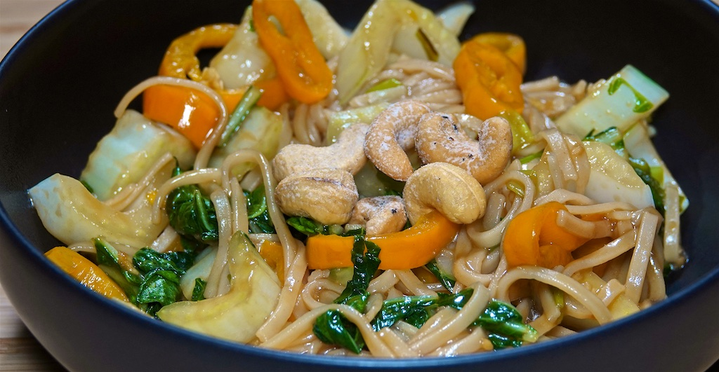 Dec 21: Smoked Trout, Avocado & Neufchatel; Noodle Stir-fry with Bok Choy, Mushrooms and Peppers