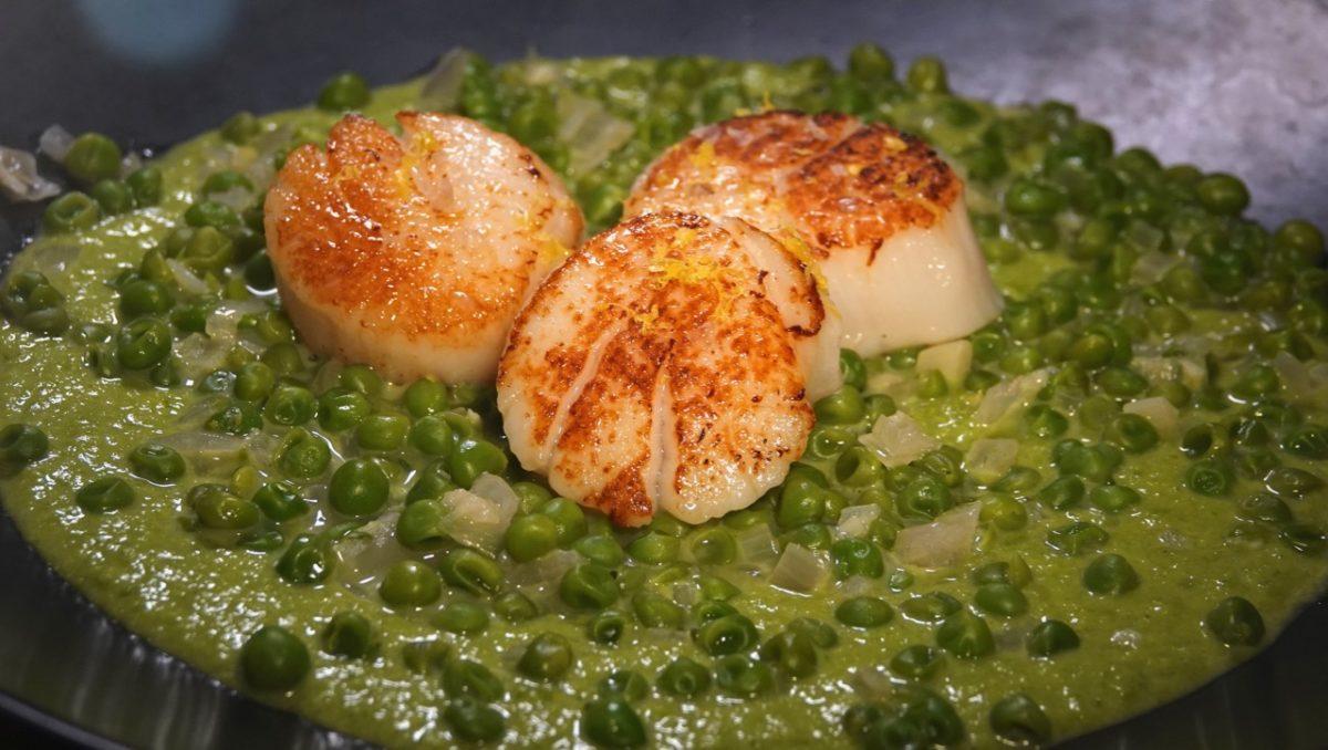 Feb 21: Salami, Neufchatel & Sun-dried Tomato; Seared Scallops with Pea Puree