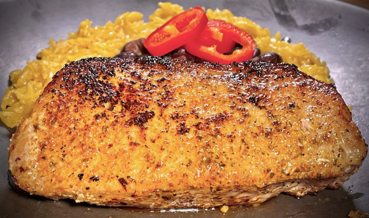 Feb 25: Salami, Sun-dried Tomatoes & Neufchatel; Pork Loin Chop with Cuban Beans and Yellow Rice