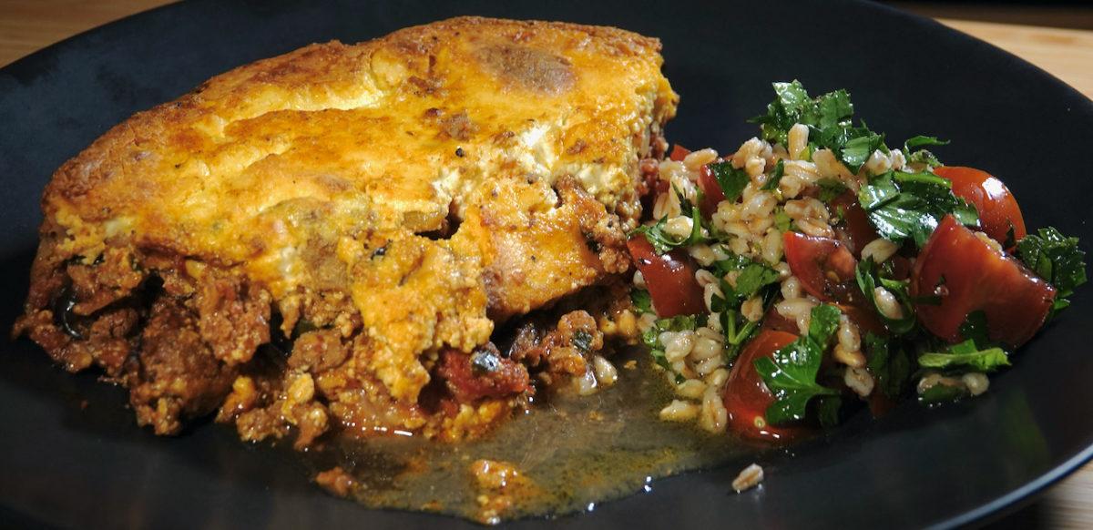 Mar 3: Steak & Stout Pie; Quick Moussaka with Farro Tabouli