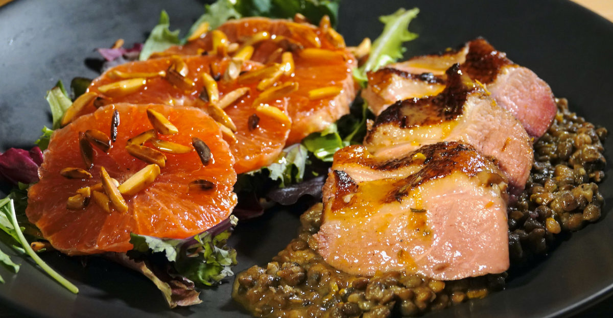 Mar 6: Egg in a Bagel with Ham & Tomato; Sous Vide Duck Breast with Black Lentils and Orange Sauce