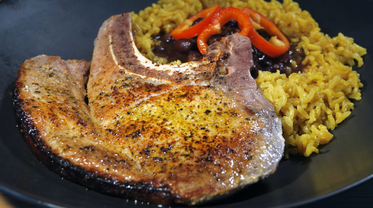 Mar 25: Chapli Naan Sandwich; Sous Vide Bone-in Pork Chop with Cuban Rub, served with Cuban Black Beans and Yellow Rice