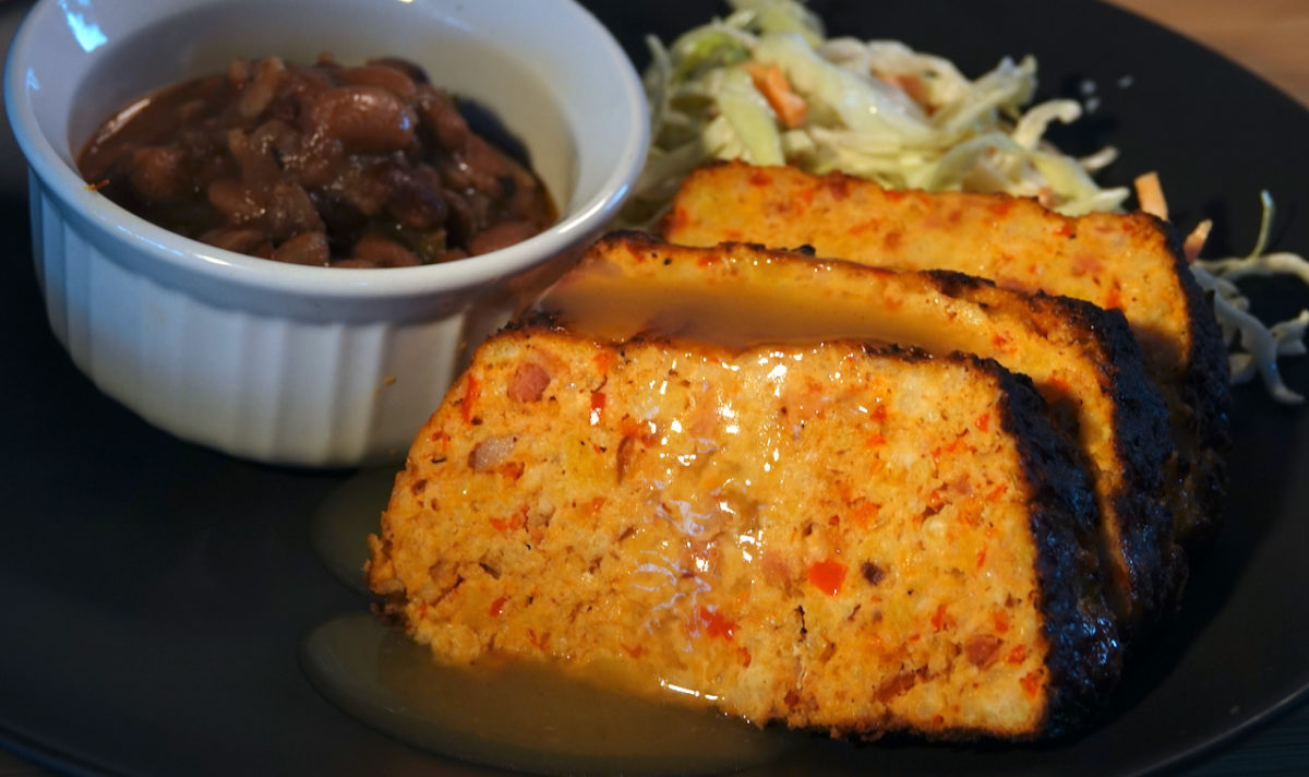 Apr 11: Crisp bread Ploughman's Lunch; Turkey Bacon Chipotle Meatloaf with Tex-Mex Pinto Beans, Coleslaw and Turkey Gravy