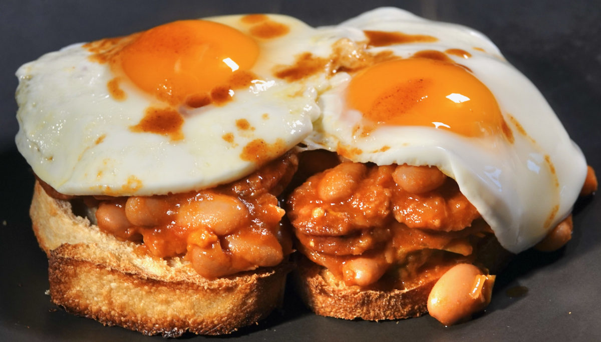 Apr 21: Rissole Panini Rolls; Pinto Bean and Andouille Stew on Italian Bread topped with a Fried Egg (or two)