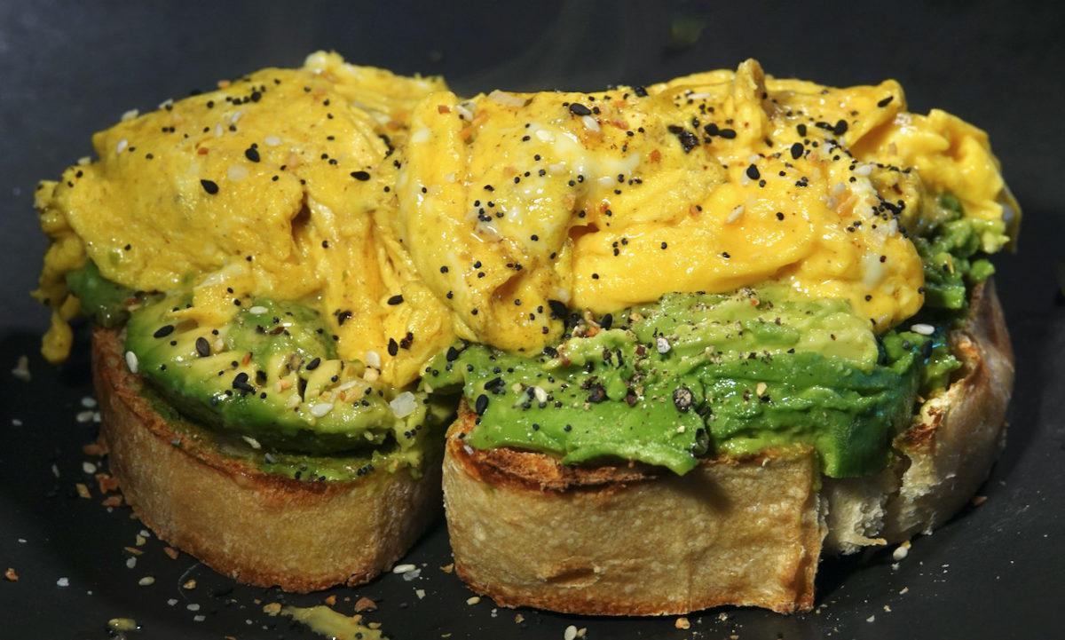 Apr 26: Chorizo, Bell Pepper & Smokey Cheddar; Scrambled Eggs on Avocado Toast