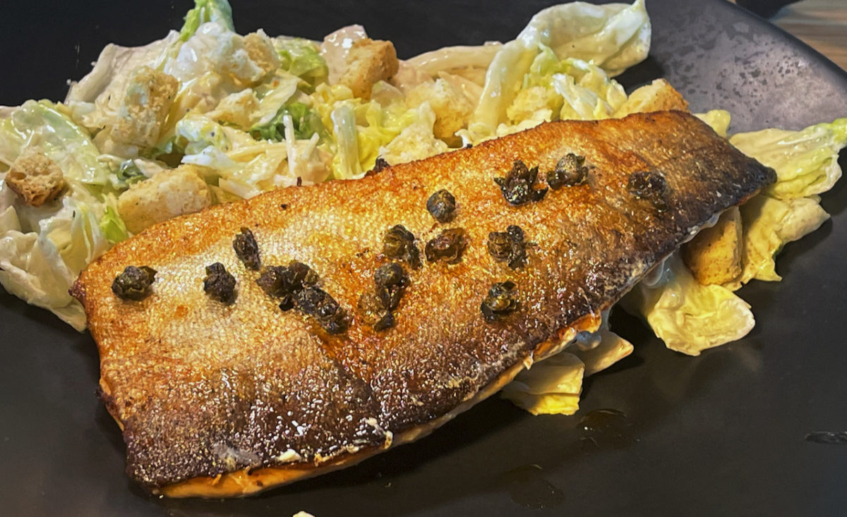 Jun 25: Lamb Gyro; Pan Fried Rainbow Trout with Fried Capers and Caesar Salad