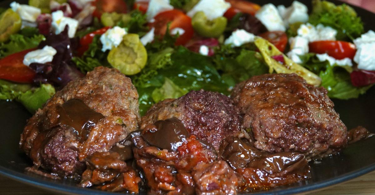 Jul 24: Soutzoukakia with Tomato, Olive, Feta Salad