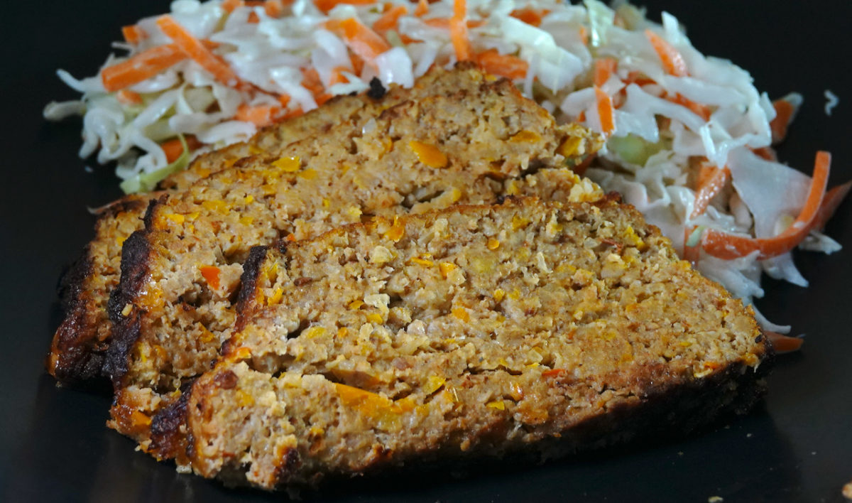 Jul 25: Chipotle Turkey Bacon Meatloaf with Black Beans and Coleslaw
