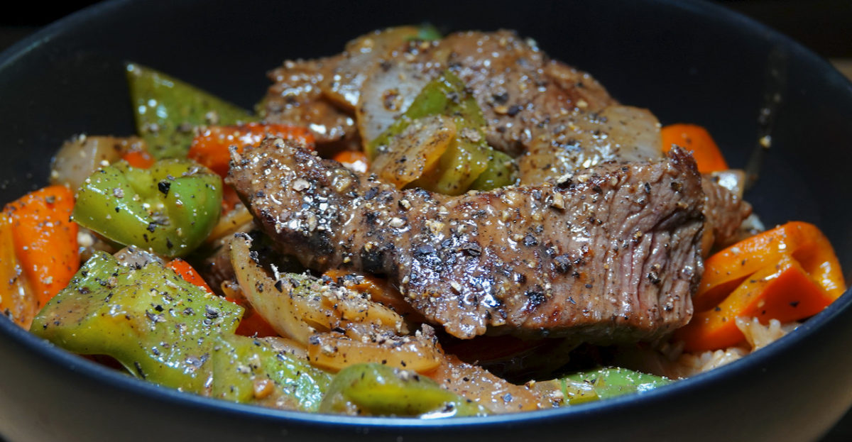 Aug 24: Black Pepper Beef with Brown Rice