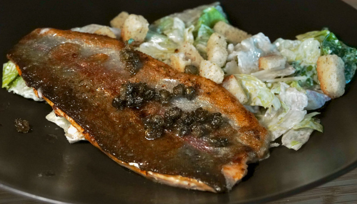Aug 27: Fried Trout with Caesar Salad
