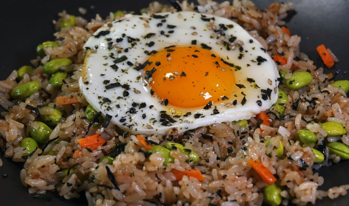 Aug 23: Japanese Fried Rice topped with Fried Eggs