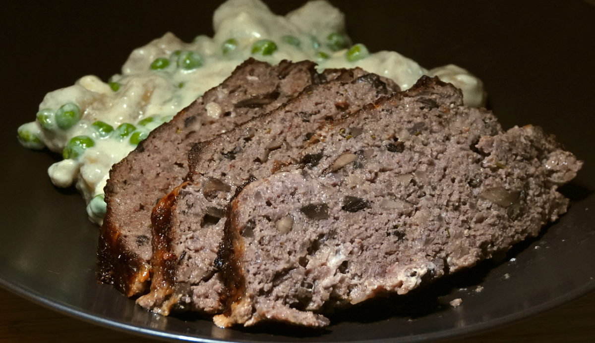 Sep 16: Red Wine and Mushroom Meatloaf with Cauliflower Gnocchi in a Blue Cheese Sauce