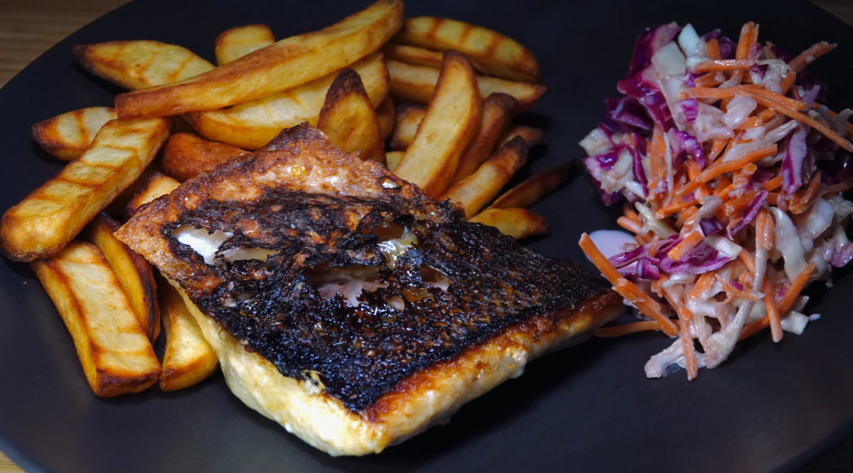 Sep 17: Striped Bass with Coleslaw and Oven Fries