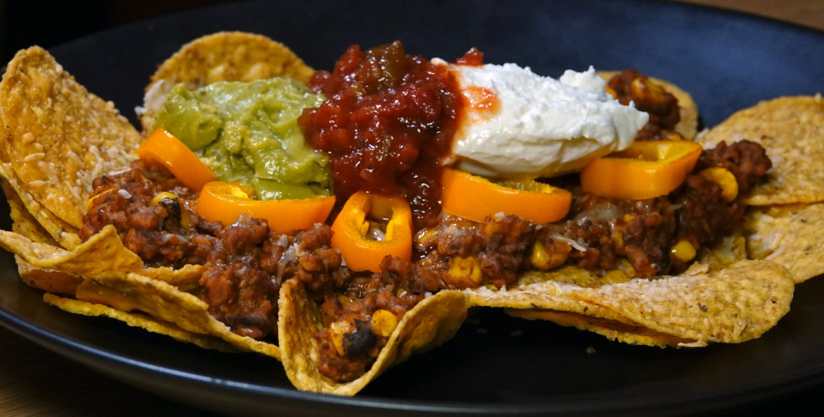 Oct 18: Tex-Mex Soyrizo and Bean Nachos with Sour Cream, Guacamole, Salsa and Baby Bell Peppers
